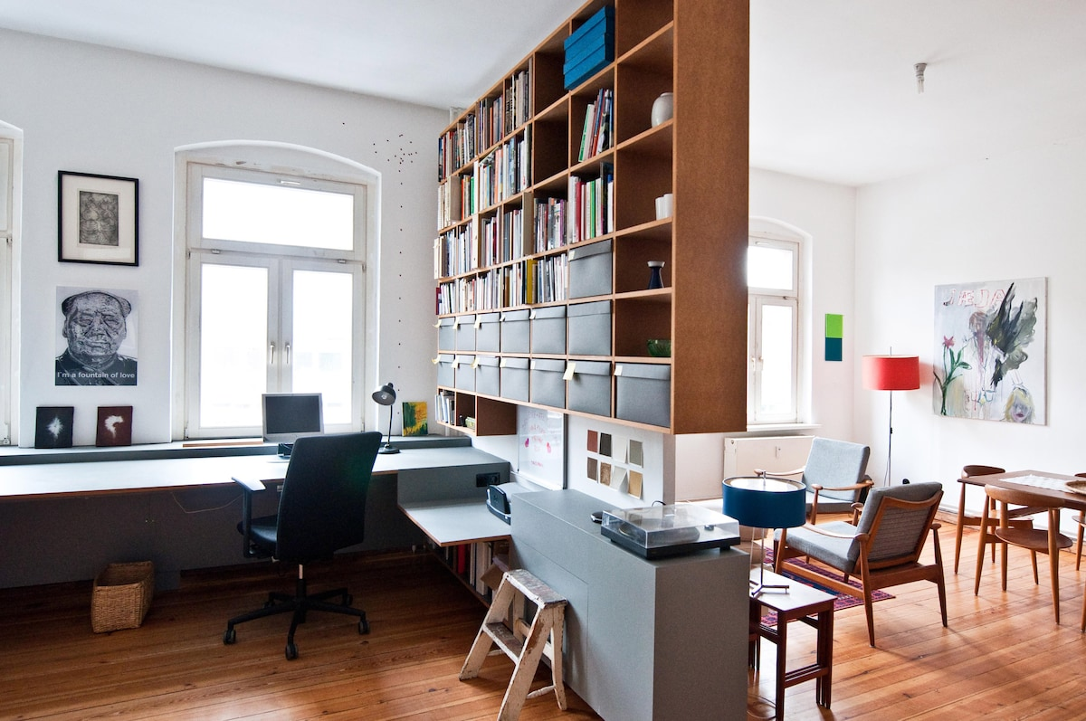 Office space to the left, living room to the right