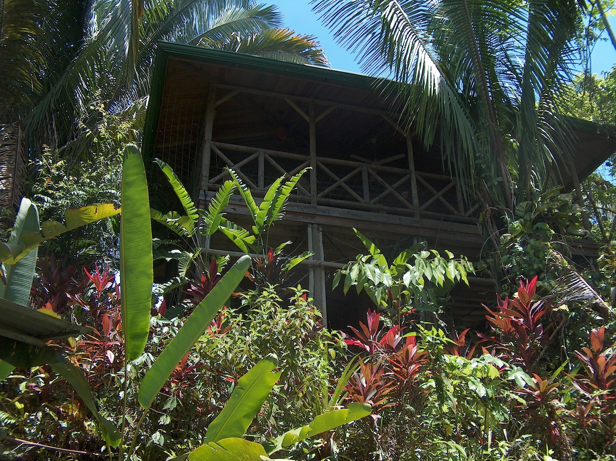 1. Luxurious wood chalet set amid the harmonious gardens surrounded by untamed jungle.