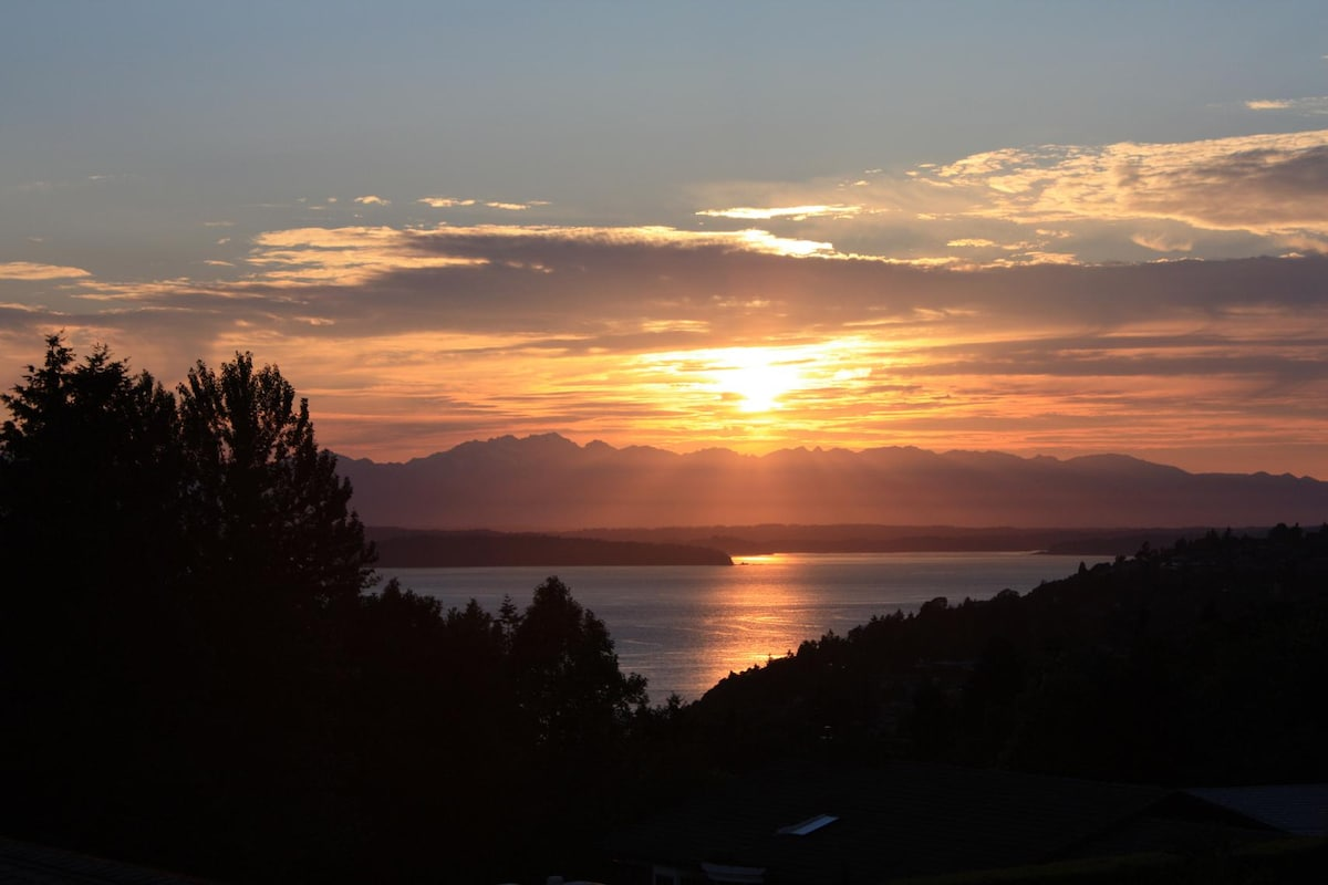 Veiw from Kitchen of winter 2012 Sunset over the Olympic Mountains