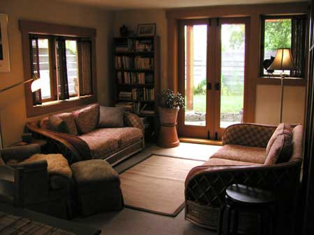 living room opens to patio