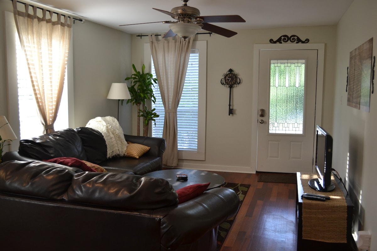 Living room- cable television, comfortable sofas.