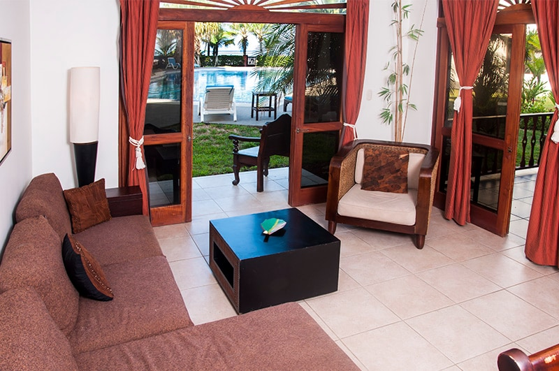 The main living area has a wide open feeling with pool and patio access