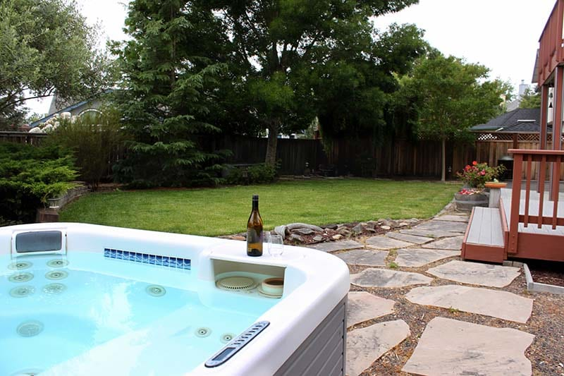 Backyard view from hot tub