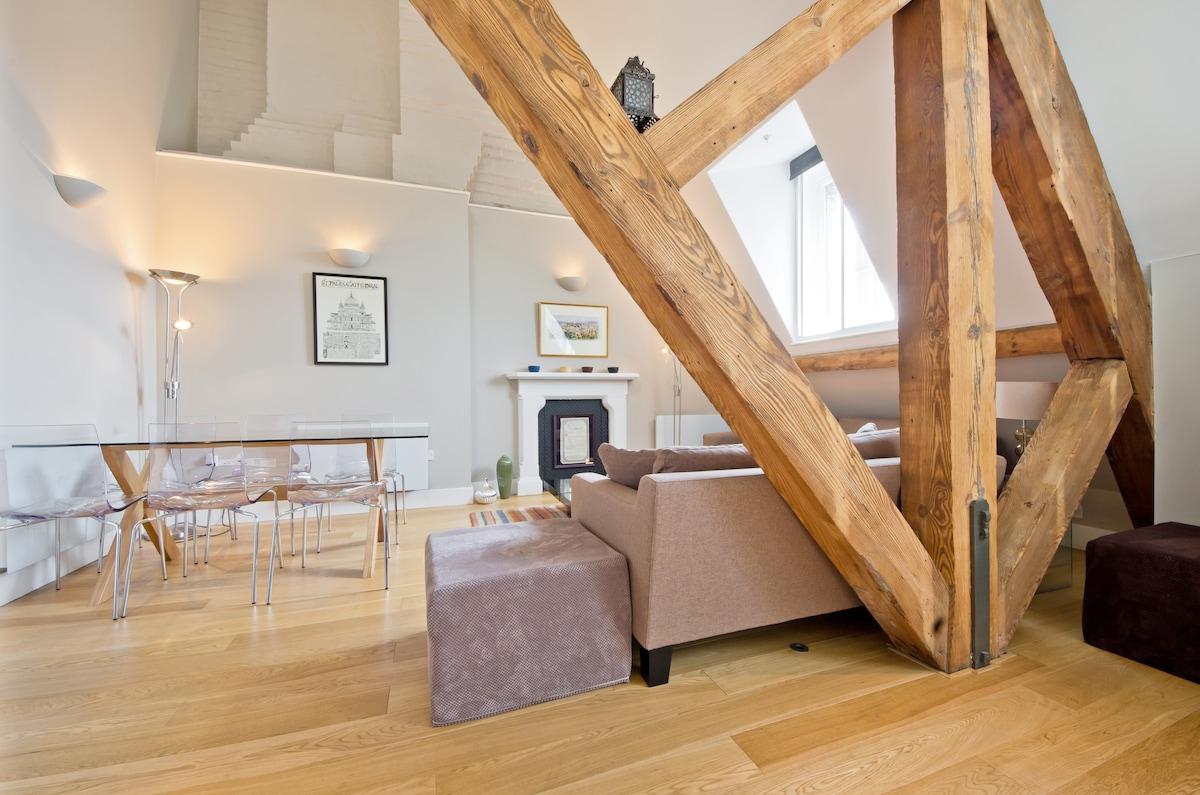 Original beams throughout apartment