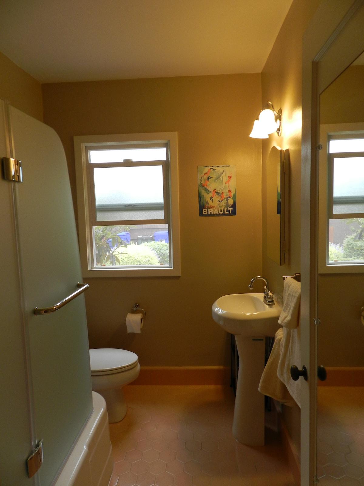 Bathroom with stylish euro shower door.