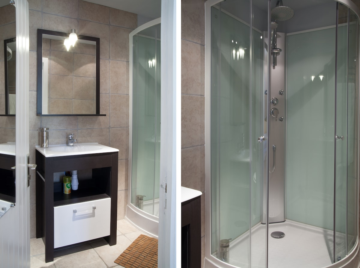 Brand new en suite bathroom with rain shower head shower and massage jets