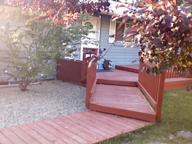 Front Deck and hummingbird bush