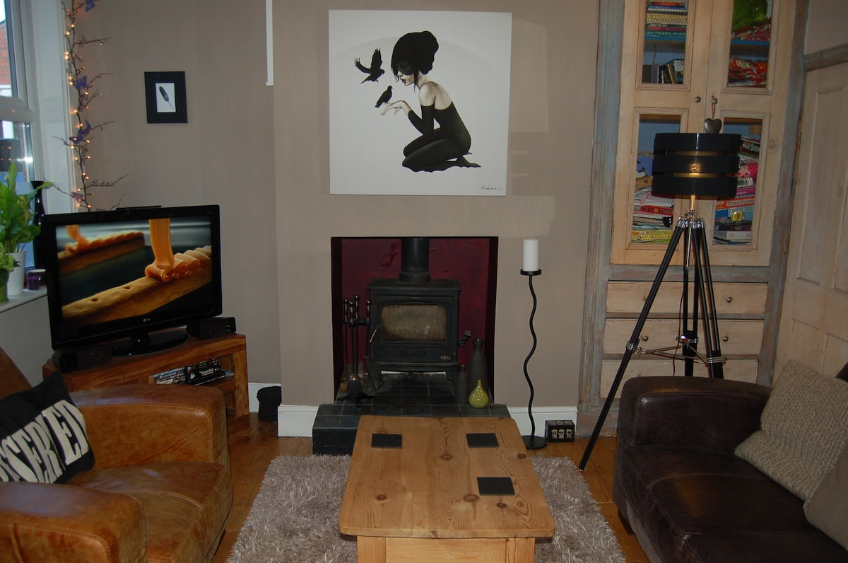 Living room, with woodburning stove