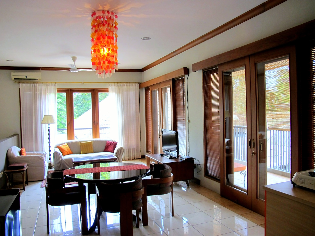 Our sunny, spacious living room with a view of the legendary green trees of Menteng