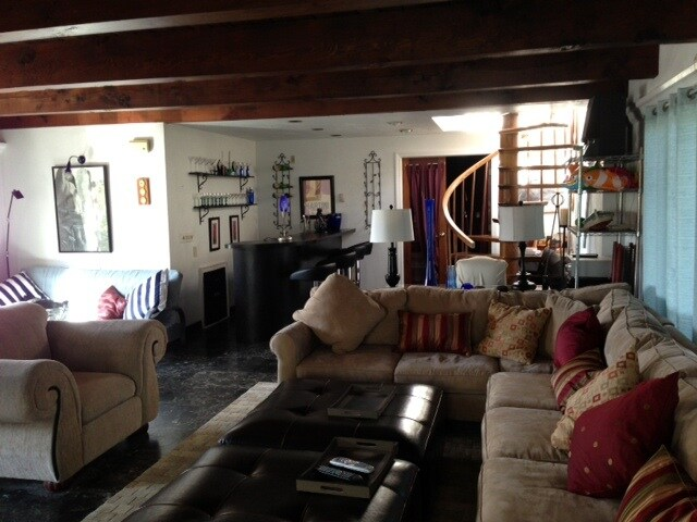 Great room with wet bar and new sectional sofa
