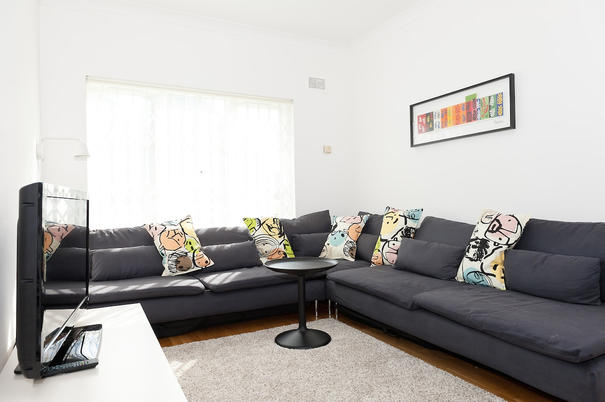 This is our living room.  These sofas,from IKEA also turn into spacious and comfortable single beds
