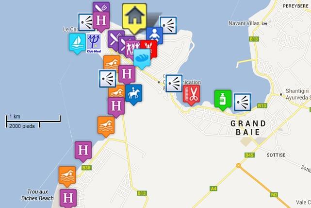 Carte des points d'interets du secteur de pointe aux canonniers
