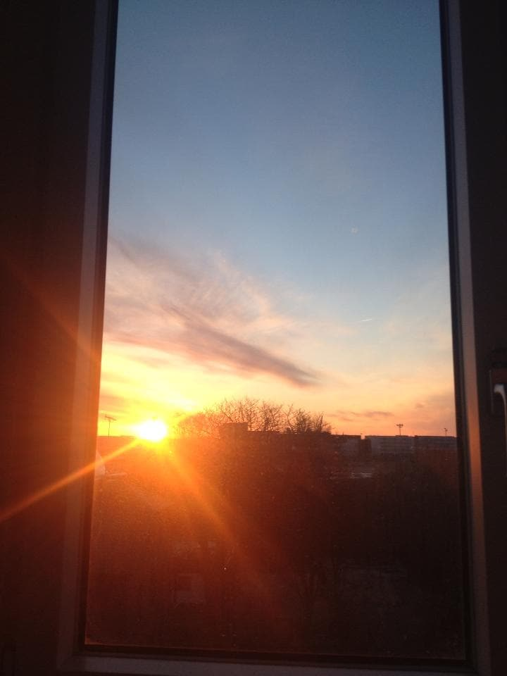 The sunrise from one of the two large bedrooms