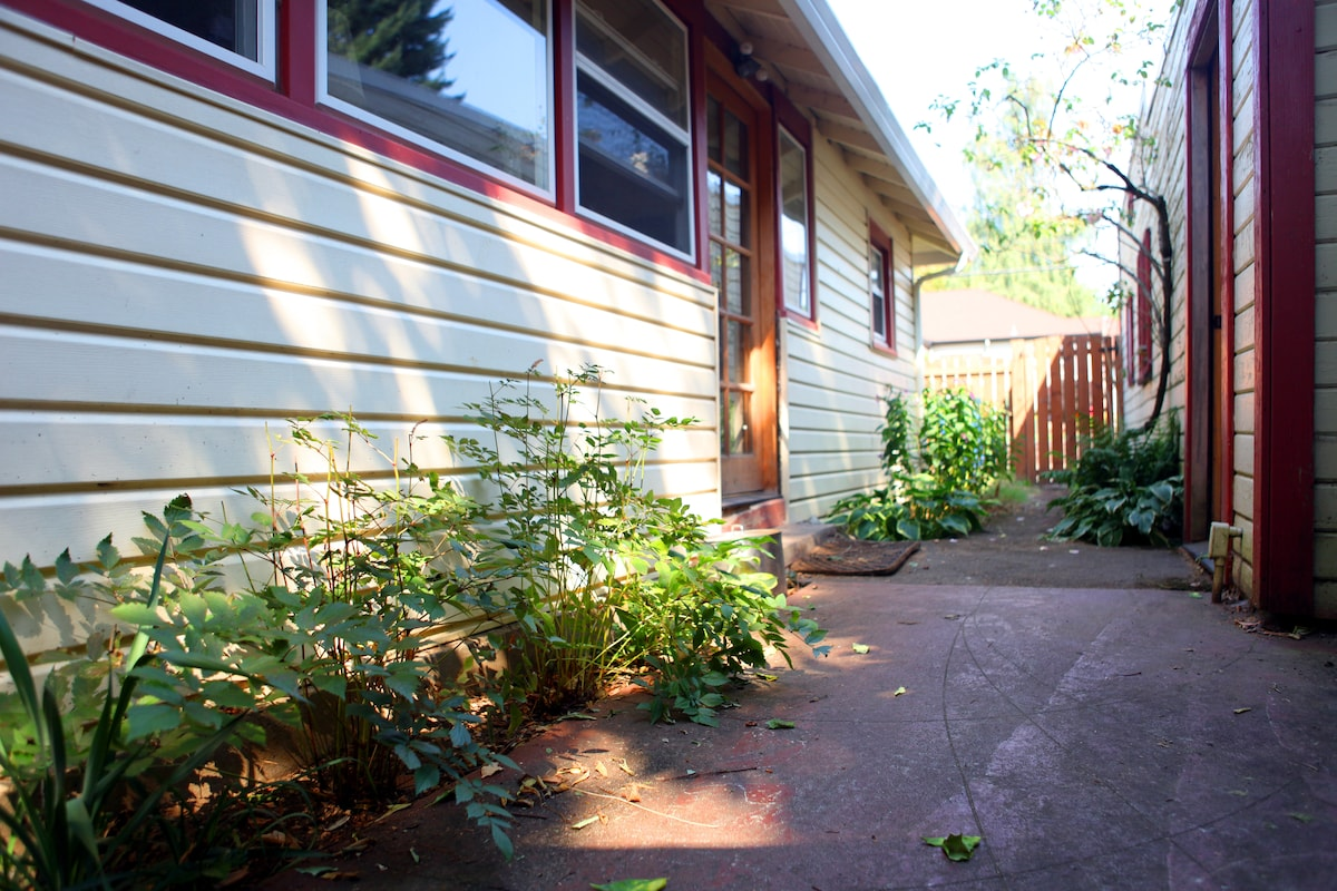 Back patio and rear entrance.