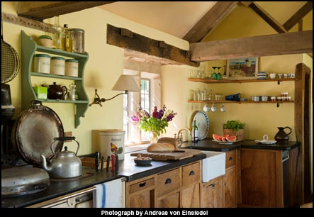 The kitchen and Aga.