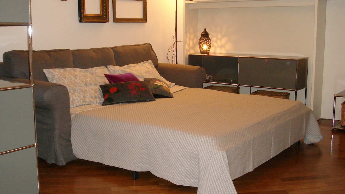 The Living Room - the Double Sofa Bed, ready to use!