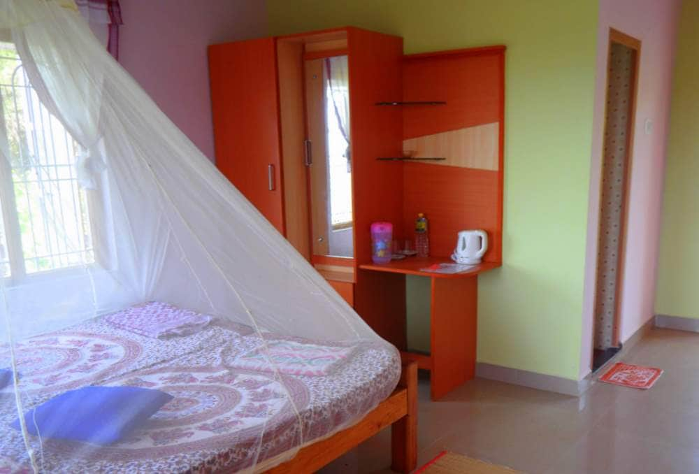 The room with kettle, mosquito net and new linen