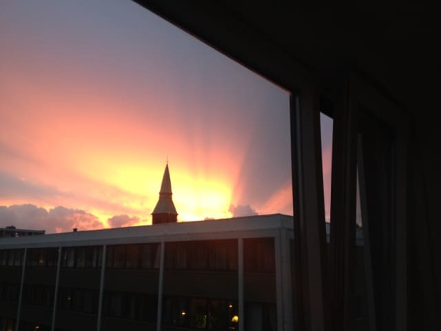 Sunset view from the livingroom windows
