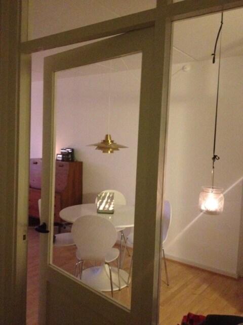 View through the hallway glass doors