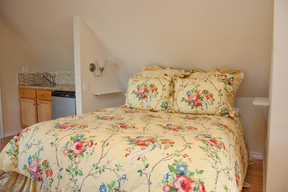 Comfortable queen mattress is the perfect place to get a great night's sleep after a fun day in Austin.