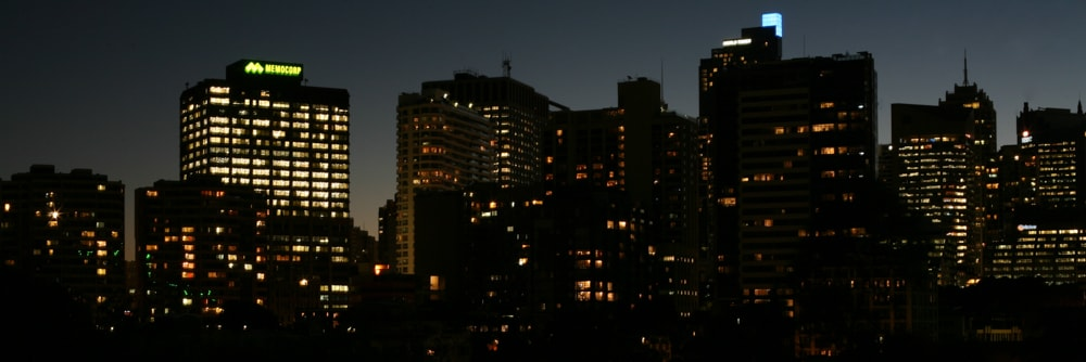 Sydney CBD in the sparkling evening from the terrace