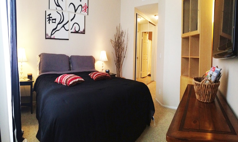 King Size bed, high speed wireless internet access, AC,Flat screen TV, Apple TV Box with free access to Netflix