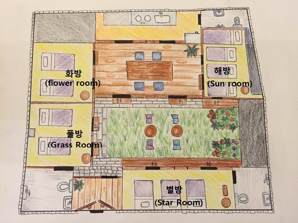 hanok sun&flower: family friendly, 2 rooms, 1 bath - bed and