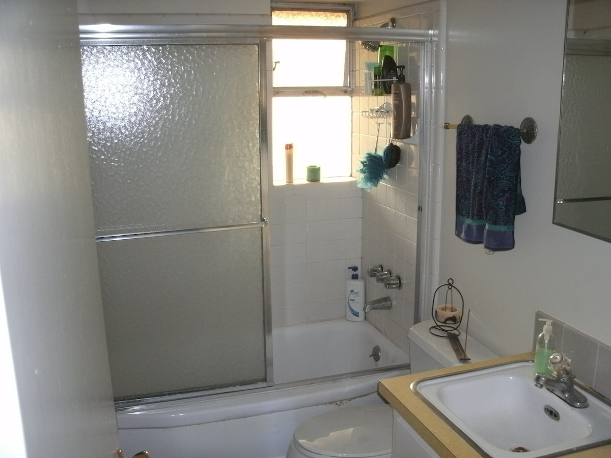 Shared bathroom with window and shower tub.