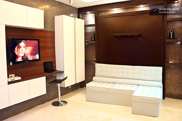 Spot - cabinets, Lounge Sofa -  Led TV and Sound System on the back top