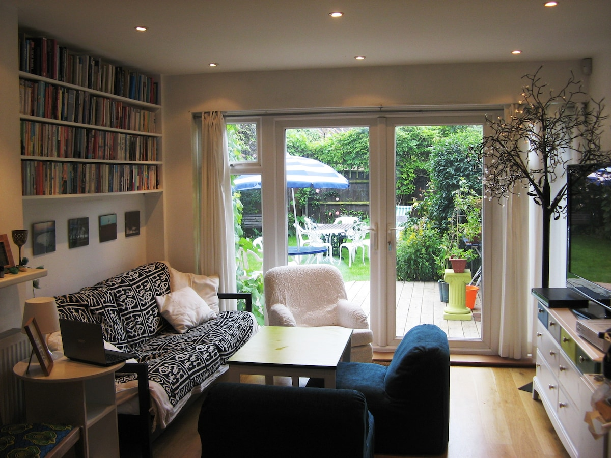 The living room, opening onto the garden