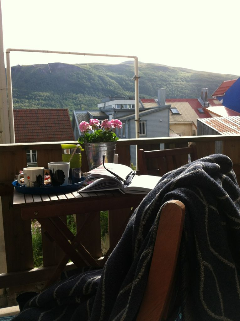 Overlooking the mountin Fløya. You can see the cabelcars go up and down as you enjoy your coffe.