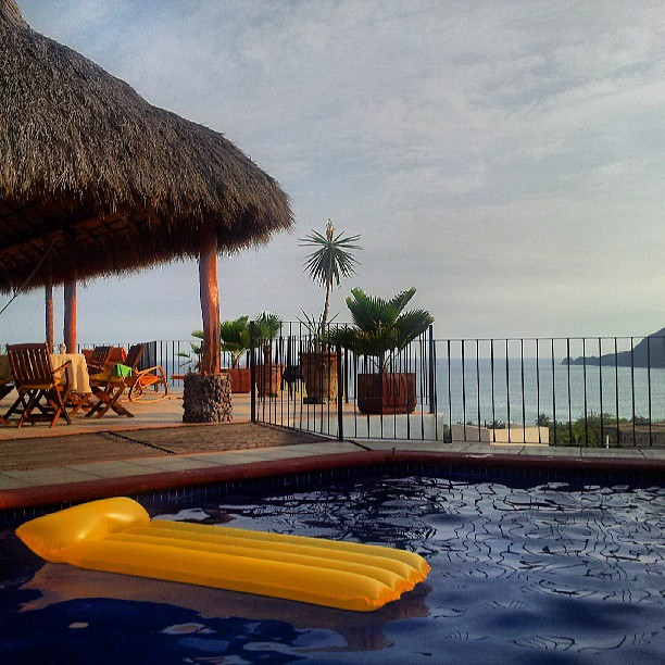 Pool, Palapa view and Boquita Bay peninsula in the right.