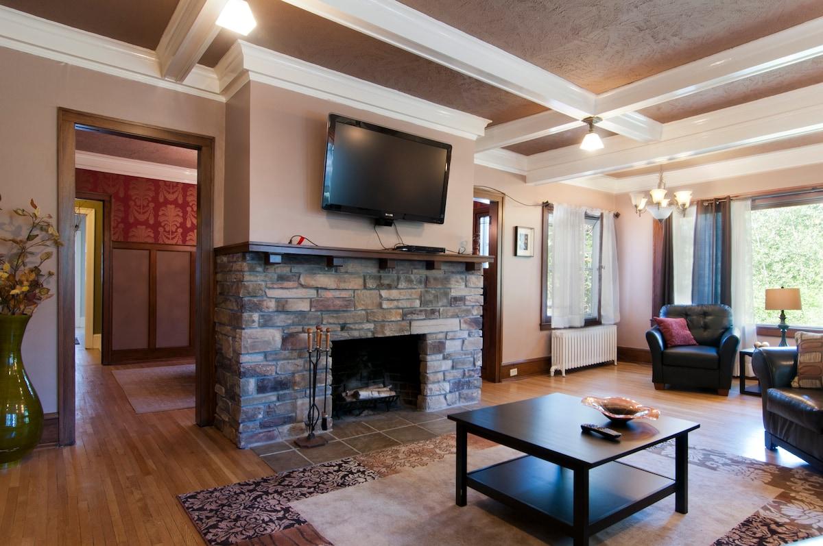 Decorative fireplace and Apple TV