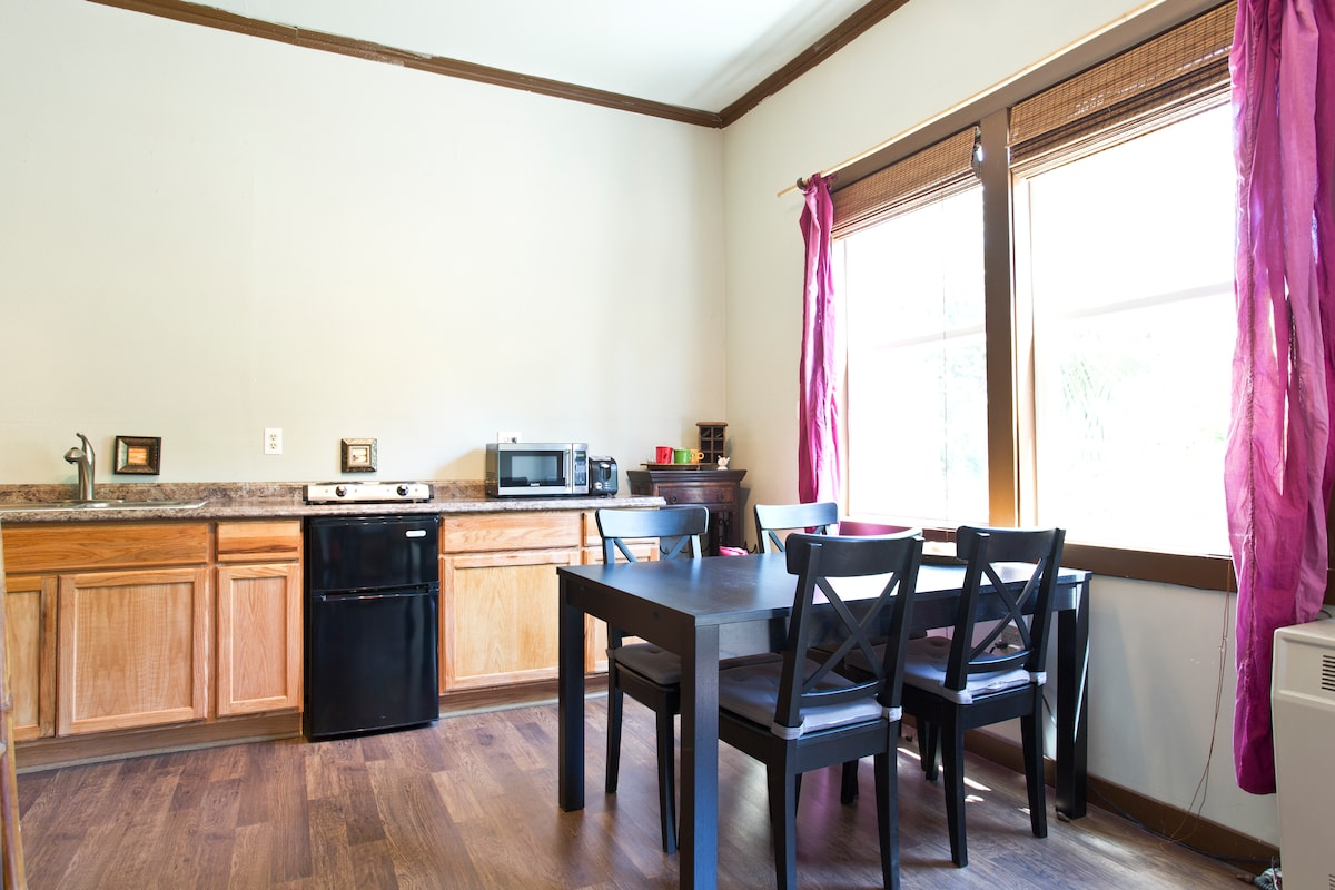 Kitchen area and dining table