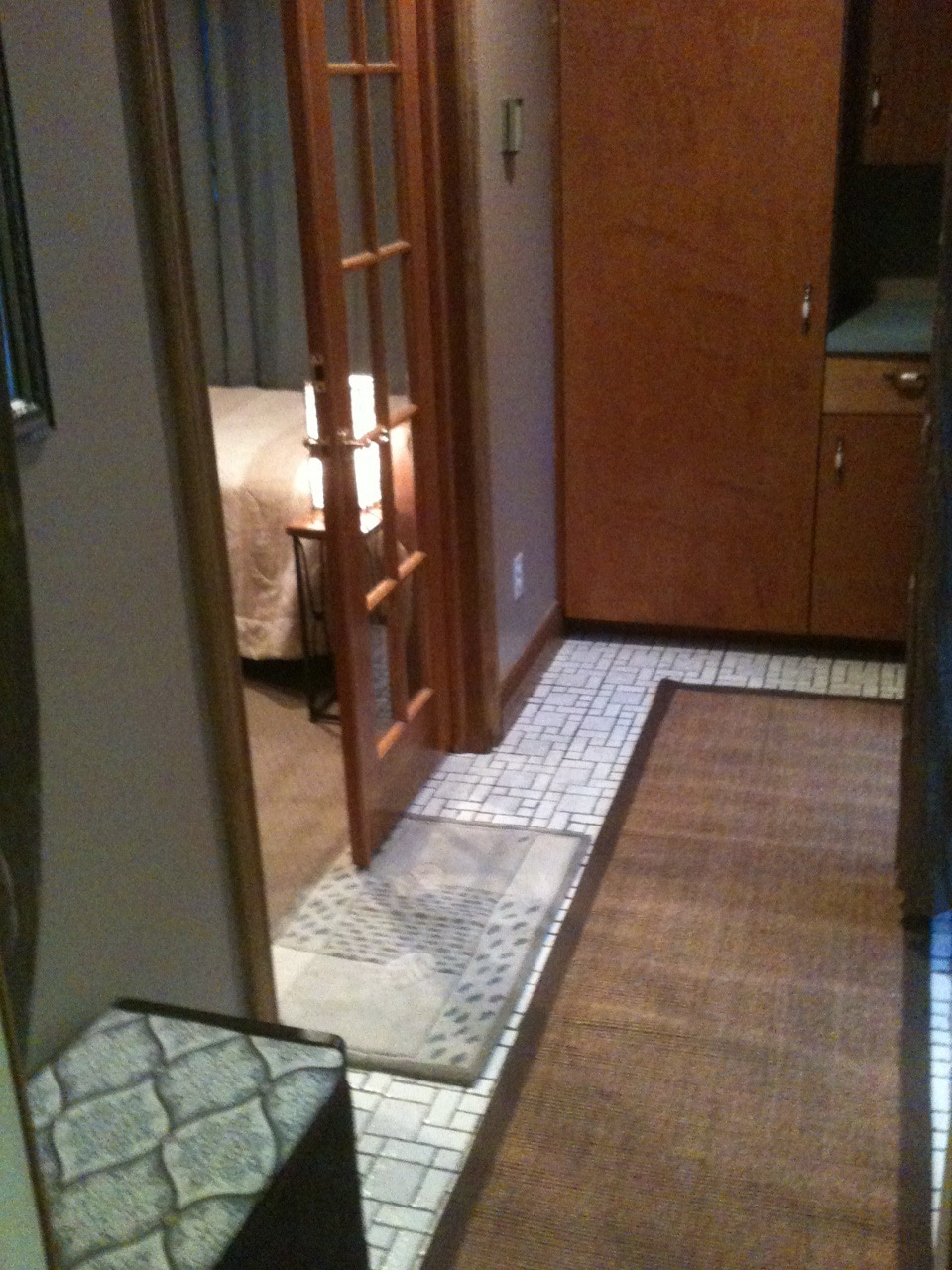 private entrance and changing room and closet area