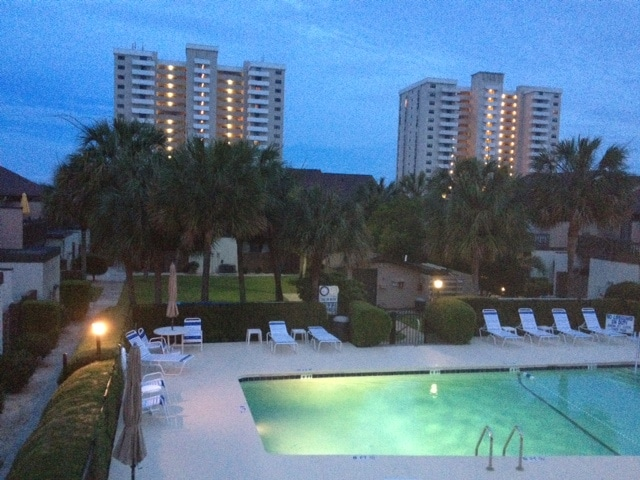 Beautiful well maintained complex pool available for your use.  Night View