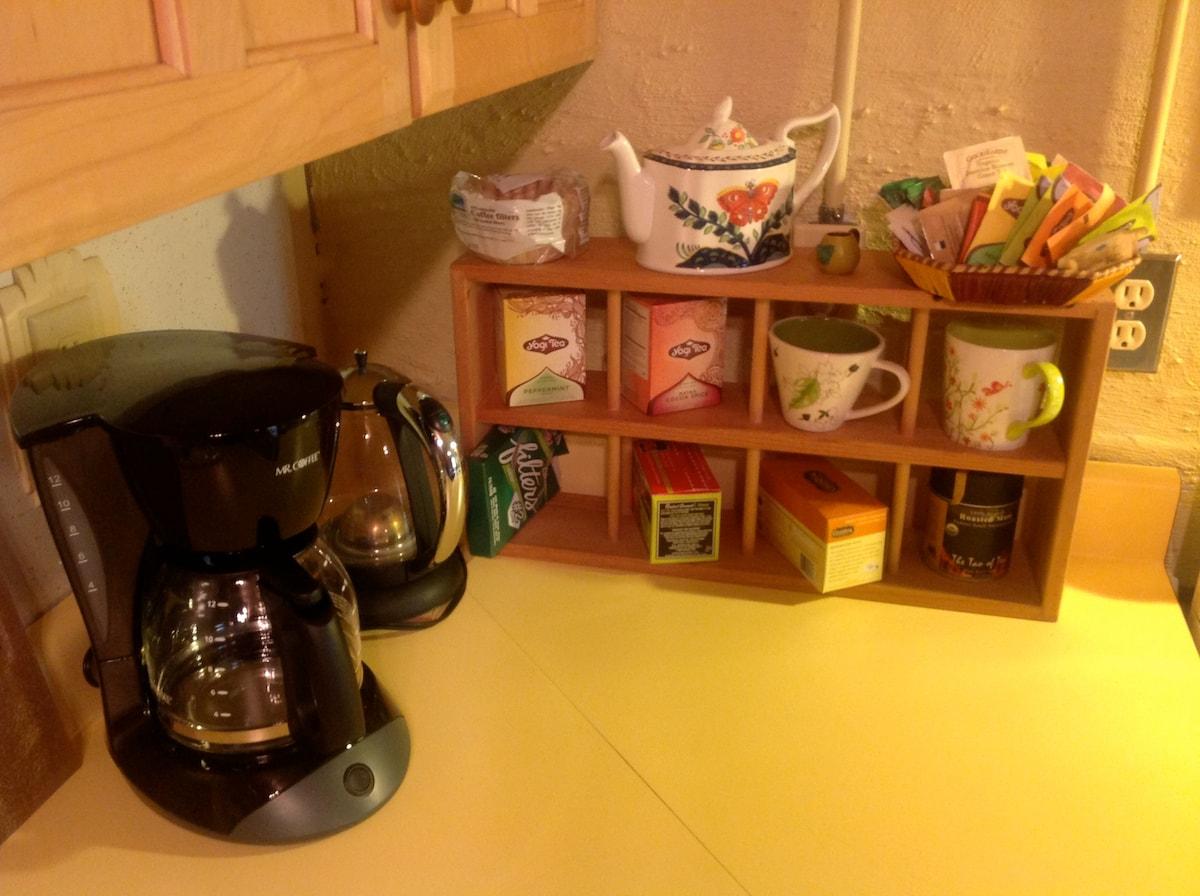 Stumptown coffee and lots of tea ...