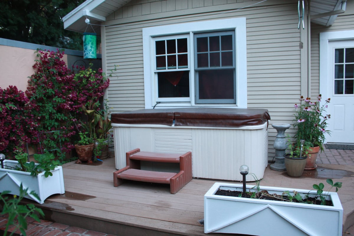 2-person hot tub available for use