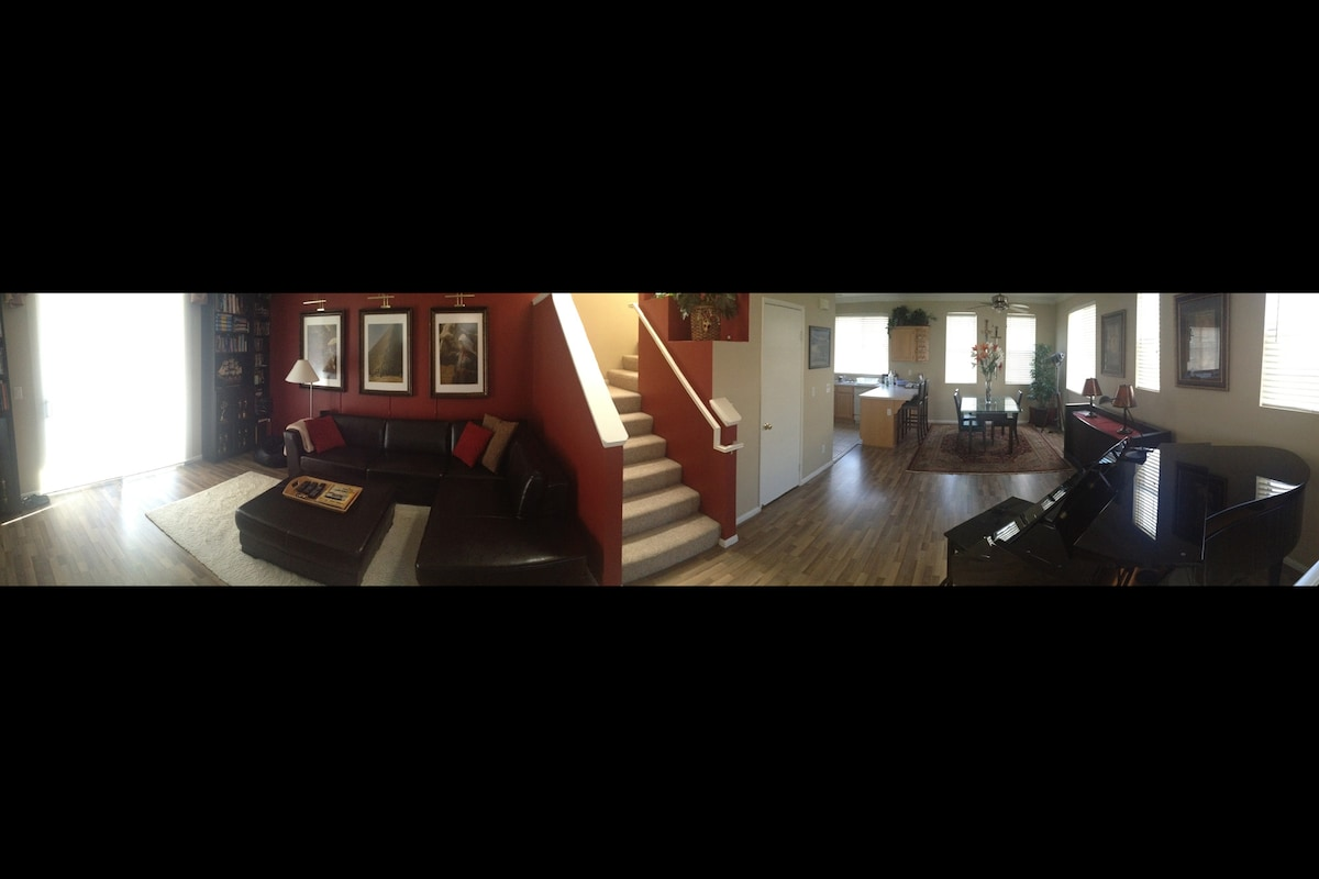 Panoramic of the second floor - living room, dining room, and kitchen