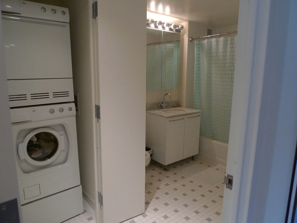 Large Bathroom and Closet with Washer and Dryer