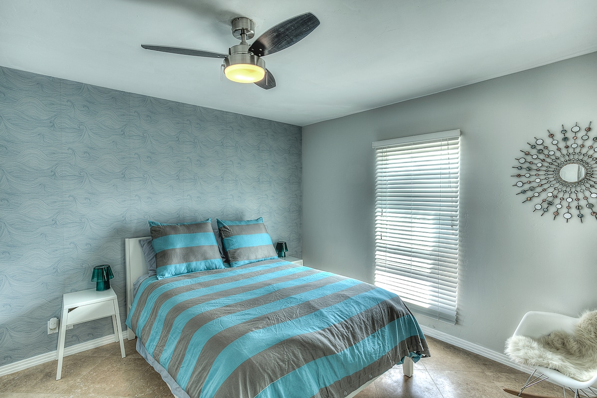 guest room with queen bed, new mattress, new linens, new everything