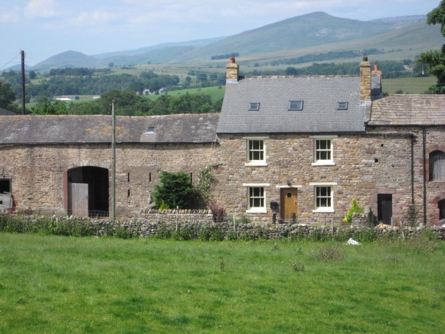 Musgrave House Farm and Pennine hills beyond