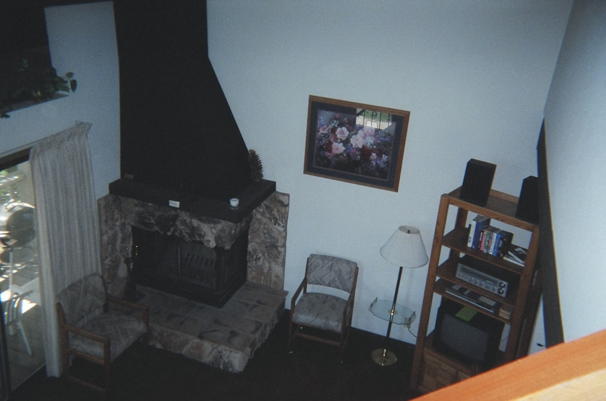 View from loft of the living room area.
