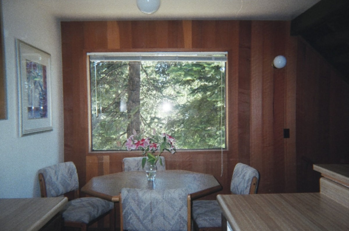 Dining area with view to the beautiful trees outside.