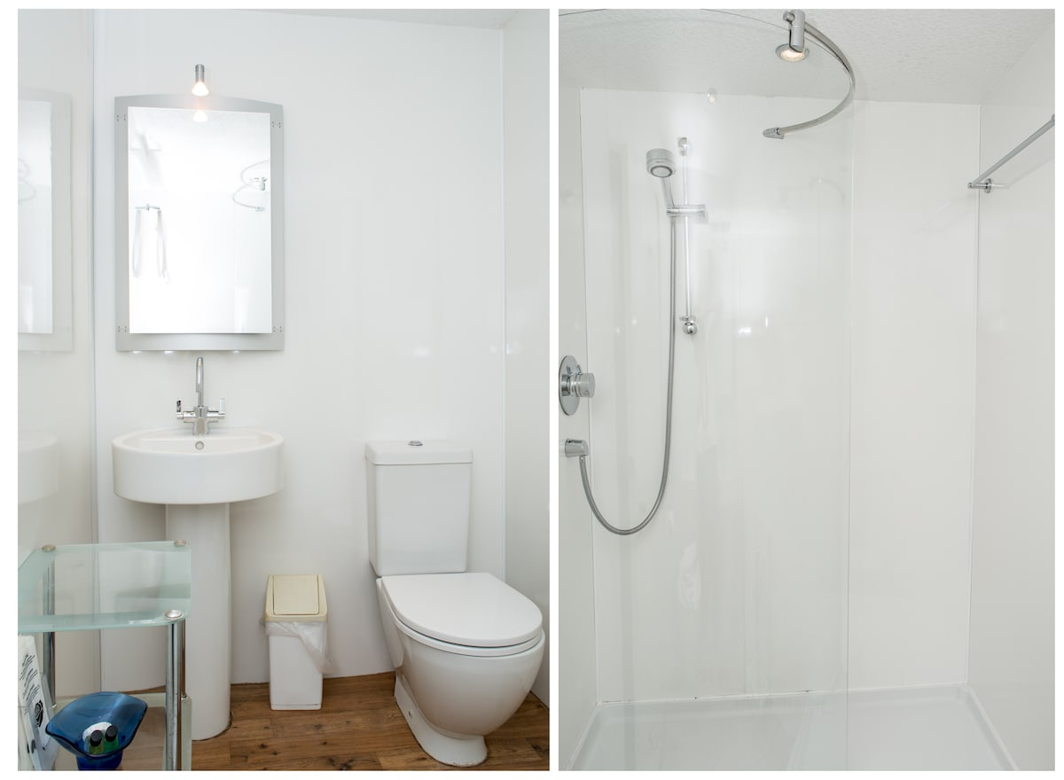 The bathroom cabinet houses shelves, a shaver light and shaver socket.