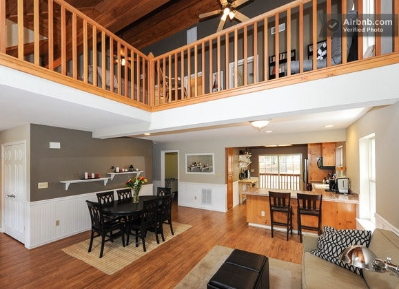 A view of the loft area upstairs, and the nice high ceilings throughout the home.