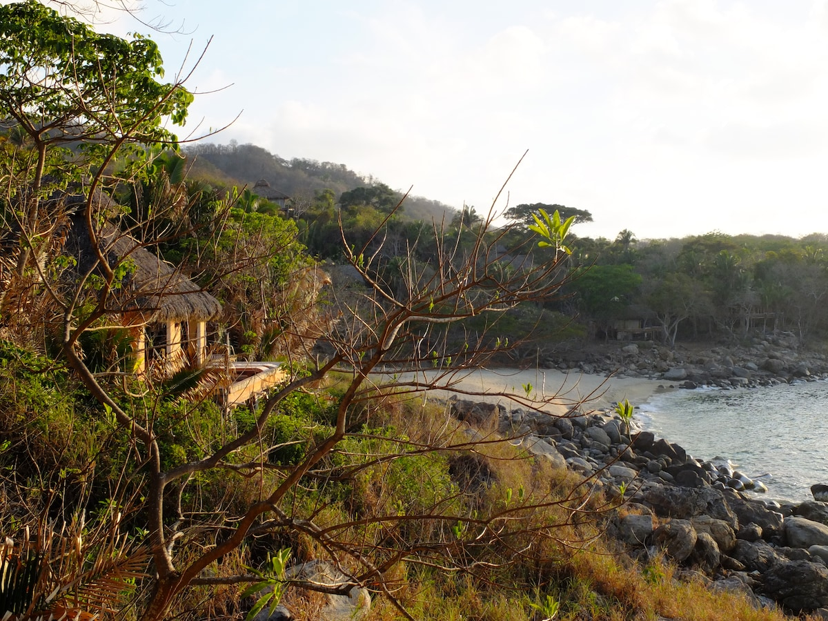 View of La Palapa Tranquila and the beach