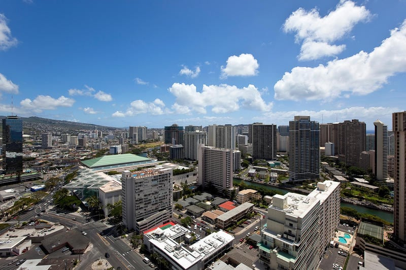 Views Looking out towards Waikiki. All rooms have Ocean and City Views from 33rd Floor!