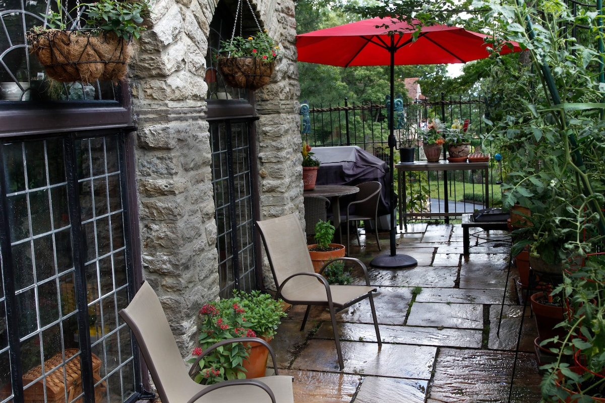 Breakfast can be served on the patio during warm weather.  Seats four.