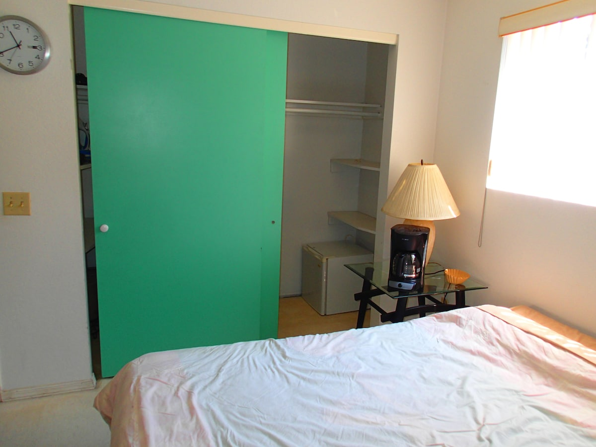 Plenty of closet space and your own in-room mini fridge for extra privacy!